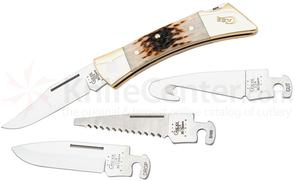Case Amber Bone XX-Changer Lockback with Gut Hook 5 inch Closed (XX-CHANGER SS), Leather Sheath