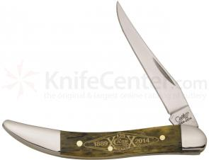 Case 125th Anniversary Smooth Olive Green Bone Small Texas Toothpick 3 inch Closed (610096 SS)