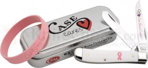 Case Cure Breast Cancer Mini Trapper 3-1/2 inch Smooth White Synthetic Handles (4207 SS)