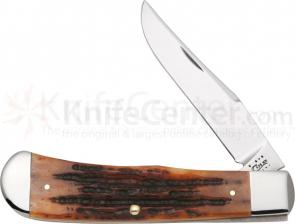 Case BackPocket Folding 3-1/2 inch Plain Blade, Jigged Chestnut Bone Handles (TB61546 SS)