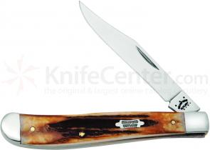 Case Bradford Cutlery Genuine Burnt Stag Slimline Trapper 4-1/8 inch Closed (51048 SS)