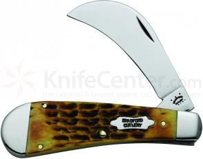 Case Bradford Cutlery Goldenrod Bone Hawkbill Pruner 4-1/8 inch Closed (61011 SS)