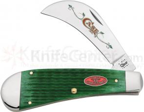Case Bright Green Rogers Corn Cob Jigged Bone Hawkbill Pruner 4-1/8 inch Closed (61011 SS)