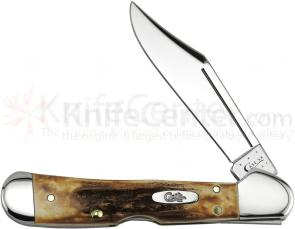 Case Genuine Stag Mini CopperLock 3-5/8 inch Closed (51749L SS)