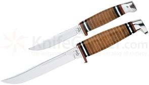 Case Twin Finn Two Piece Hunting Set, Leather Handles, Leather Sheath