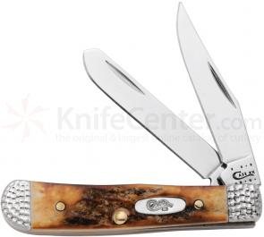 Case Worked Bolster Burnt Stag Tiny Trapper 2-3/8 inch Closed (52154 SS), Gift Box