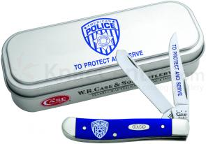 Case Blue Synthetic Mini Trapper Police 3-1/2 inch Closed (4207 SS), Gift Tin