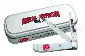 Case White Synthetic Mini Trapper Firefighter 3-1/2 inch Closed (4207 SS), Gift Tin