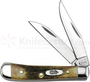 Case Genuine Burnt Stag Tiny Trapper 2-3/8 inch Closed (52154W SS)