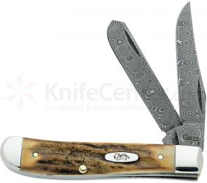 Case Stag Raindrop Damascus Mini Trapper 3-1/2 inch Closed (5207 DAM)
