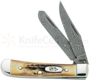Case Stag Raindrop Damascus Tiny Trapper 2-3/8 inch Closed (52154 DAM)