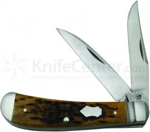 Case Tony Bose Peach Seed Jigged Antique Bone Wharncliffe Trapper 3-5/8 inch Closed (TB622013 154-CM)