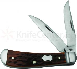 Case Tony Bose Peach Seed Jigged Chestnut Bone Wharncliffe Trapper 3-5/8 inch Closed (TB622013 154-CM)
