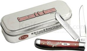 Case 'Congratulations Set' Smooth Old Red Mini Trapper 3-1/2 inch Closed (6207 SS) Gift Tin