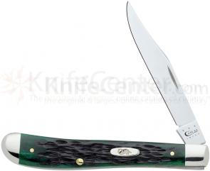 Case Pocket Worn Bermuda Green Bone Slimline Trapper 4-1/8 inch Closed (61048 SS)