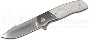 Chad Nell Custom ESG Flipper 3.75 inch CTS-XHP Hand-Rubbed Satin Blade, Silver Twill Handles with Zirconium Bolsters
