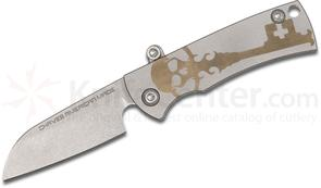 Chaves American Made Redencion Friction Folding Knife 2.25 inch S35VN Sheepsfoot Blade, Bead Blast and Bronze Titanium Handles