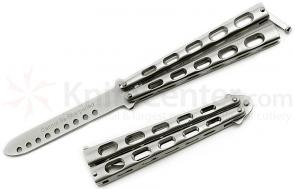 GenPro Balisong Butterfly Trainer 4 inch Unsharpened Blade, Silver Handles