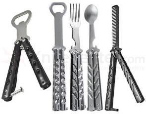 GenPro 5 Piece Ultimate Butterfly Kit with Bottle Openers, Comb, Spoon and Fork