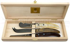 Claude Dozorme 3 Piece Berlingot Breakfast Knife Set with Colored Synthetic Handles and Wooden Box