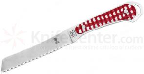Claude Dozorme 4-3/4 inch Laguiole Tomato Knife with Red and White Vichy Handles and Wooden Block