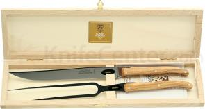 Claude Dozorme Set of Laguiole 2 Piece Carving Set with Bee Olive Wood Handles, Wood Gift Box