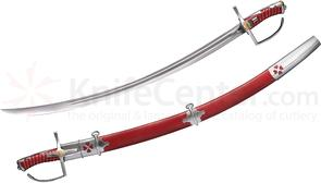 Cold Steel 88RPS Polish Saber 32 inch Carbon Steel Blade, Red Leather Scabbard