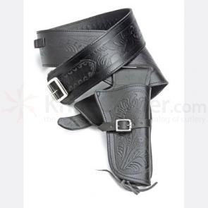 Single Tooled Black Western Holster - Medium