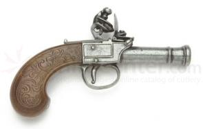 Spanish Made Men's Pocket Flintlock Pistol In Gray Finish