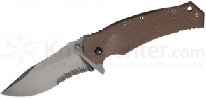 Combative Edge M1 Tactical Folder 3.75 inch N690Co Black Combo Blade, Titanium and Coyote G10 Handles