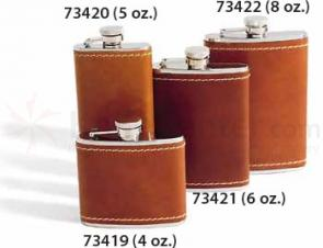 Concord 5 oz. Tan Bison Leather Cover Stainless Steel Flask