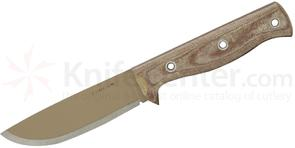 Condor Tool & Knife CTK3909-4.5 Desert Romper Knife 4.5 inch Carbon Steel Blade, Micarta Handles, Leather Sheath
