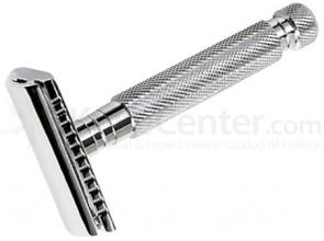 Parker 97R Hefty Double Edge Three Piece Safety Razor, 3 inch Handle