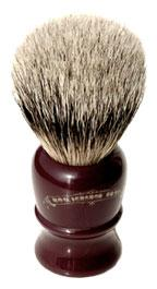 Colonel Conk Shave Brush- Silver Tipped Badger with Maroon handle