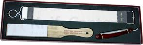 Colonel Conk Shave Set Containing Strop, Stone and Black Handle Straight Razor