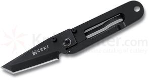 Columbia River 5500K Ed Halligan K.I.S.S. in the Dark Folding Knife 2.25 inch Black Plain Tanto Blade, Money Clip Stainless Steel Handle