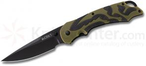 Columbia River 1101 Moxie Assisted 3.29 inch Black Plain Blade, Green and Black TPE Handles
