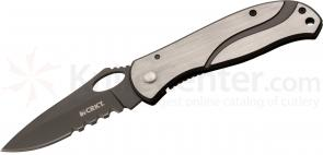 Columbia River 6491 Large Pazoda Folding Knife 3.08 inch Combo Blade, Stainless Steel Handles