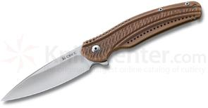 Columbia River K401BXP Ken Onion Ripple 2 Frame Lock, 2.78 inch Plain Acuto Steel Blade, Bronze Stainless Steel Handles
