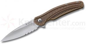 Columbia River K406BXS Ken Onion Ripple Frame Lock, 3.16 inch Acuto Steel Combo Blade, Bronze Handles