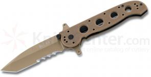 Columbia River M16-14DSFG Carson Special Forces Flipper 3.875 inch Tanto Combo Blade, Desert Tan, G10 Handles