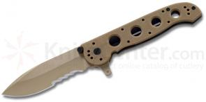 Columbia River M21-12G Carson Design Folder 3 inch Combo Spear Point Blade, Tan G10 Handles