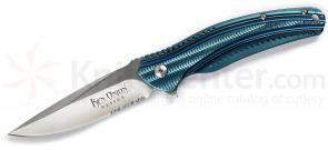 Columbia River K405BXS Ken Onion Frame Lock Ripple 3.125 inch Acuto Satin Combo Blade, Blue Stainelss Steel Handles
