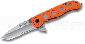 Columbia River Carson M16-12ZE Emergency Rescue Folder 3 inch Satin Combo Tanto Blade, Orange GFN Handles