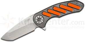Curtiss Knives F3 Medium Flipper 3.25 inch Stonewashed CTS-XHP Compound Ground Blade, Titanium Handles with Oval Orange G10 Inlays
