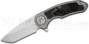 Curtiss Knives F3 Medium Flipper 3.25 inch Stonewashed CTS-XHP Compound Ground Blade, Titanium Handles with Marbled Carbon Fiber Inlay
