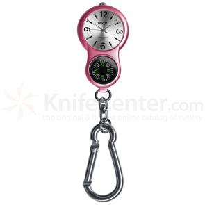 Dakota Watch Company E-Clip, Silver Sunray Dial,  Pink Body, Compass, Clip