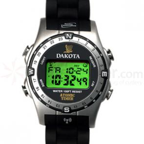 Dakota Watch Company Radio Controlled Watch, Silver & Black Bezel, Plastic Strap