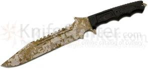 Dark Ops Knives The Paul  inchShadow inch Combat Knife 8-3/4 inch ACU Tan/Desert Sawback Combo Blade, MOLLE Sheath