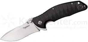 Dendra Knives Typhoon Folding 3.75 inch Stonewashed D2 Plain Blade, Black G10 Handles